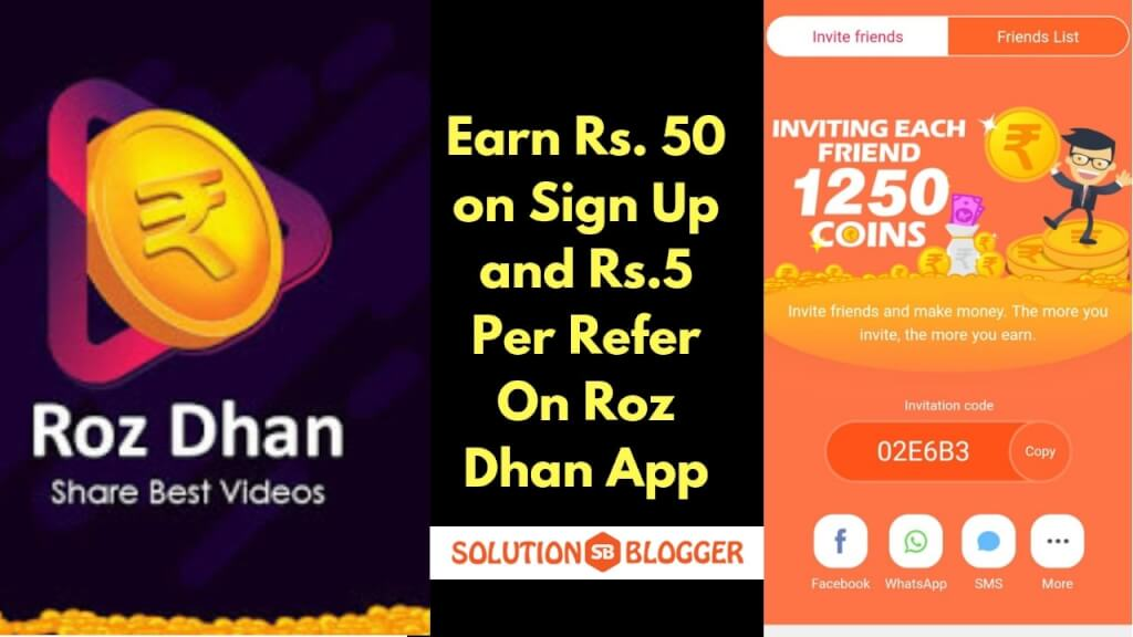 RozDhan App Refer Code | Earn Rs 50 On Sign Up 5 Rs  On Refer