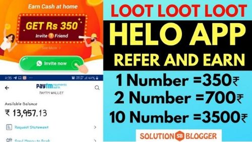 Helo App Referral Code _ Rs.350 Per Refer _ Earn Upto 350 on Sign up-min